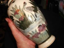 VINTAGE GILDED ORIENTAL VASE HANDPAINTED RUSHES CRANES WATER DRILLED BASE 7.5""
